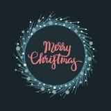 Tarjeta de felicitación de las letras de la mano de la Feliz Navidad Imagen de archivo libre de regalías