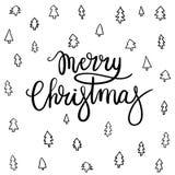 Tarjeta de felicitación de las letras de la mano de la Feliz Navidad Imagenes de archivo