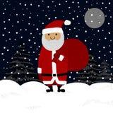 Tarjeta de felicitación de las letras de la mano de la Feliz Navidad con Santa Claus Imagen de archivo