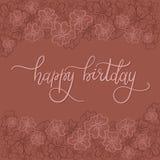 Tarjeta de felicitación de las letras de la mano del feliz cumpleaños Fotos de archivo libres de regalías