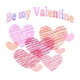 Tarjeta de felicitación de las tarjetas del día de San Valentín del santo con los corazones Imagen de archivo libre de regalías
