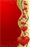 Tarjeta de felicitación de las tarjetas del día de San Valentín, ilustración del vector Imagen de archivo