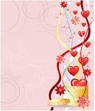 Tarjeta de felicitación de las tarjetas del día de San Valentín, ilustración del vector Fotografía de archivo libre de regalías
