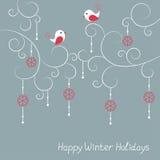Tarjeta de felicitación de las vacaciones de invierno con los pájaros Fotos de archivo