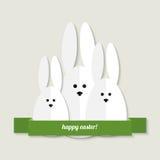 Tarjeta de felicitación de los conejitos de pascua stock de ilustración