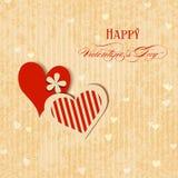 Tarjeta de felicitación de los corazones de la tarjeta del día de San Valentín Fotos de archivo