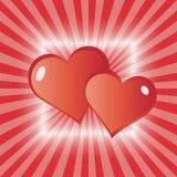 Tarjeta de felicitación de los corazones del amor Foto de archivo