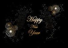 Tarjeta 2014 de felicitación de los fuegos artificiales del champán de la Feliz Año Nuevo Fotografía de archivo