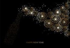 Tarjeta 2014 de felicitación de los fuegos artificiales del champán de la Feliz Año Nuevo Foto de archivo libre de regalías