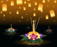 Tarjeta de felicitación de Loy Krathong con las linternas flotantes, día de fiesta tailandés Foto de archivo