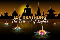 Tarjeta de felicitación de Loy Krathong con los krathongs flotantes, día de fiesta tailandés Fotografía de archivo libre de regalías