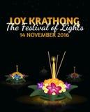 Tarjeta de felicitación de Loy Krathong con los krathongs flotantes, día de fiesta tailandés Fotos de archivo libres de regalías
