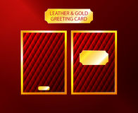 Tarjeta de felicitación de lujo del cuero y del oro Fotografía de archivo