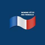Tarjeta de felicitación de Minimalistic para el día nacional francés: Bandera francesa que agita o día nacional feliz tricolor y  Imagen de archivo