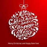 Tarjeta de felicitación de Navidad con la bola abstracta de la Navidad del garabato Vector e Imagen de archivo libre de regalías