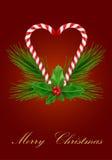Tarjeta de felicitación de Navidad con los caramelos Fotografía de archivo