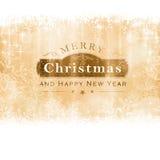 Tarjeta de felicitación de oro de la Feliz Navidad Fotos de archivo libres de regalías