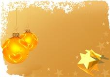 Tarjeta de felicitación de oro de la Navidad Fotografía de archivo libre de regalías