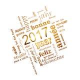 tarjeta de felicitación de oro multilingüe del cuadrado de la nube de la palabra del texto del Año Nuevo 2017 en blanco Imagen de archivo