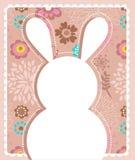 Tarjeta de felicitación de Pascua con el conejito Imágenes de archivo libres de regalías