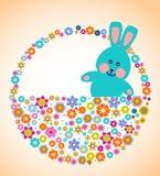 Tarjeta de felicitación de Pascua con el conejito Fotografía de archivo