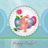 Tarjeta de felicitación de Pascua con el conejito ilustración del vector