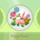 Tarjeta de felicitación de Pascua con el conejito Fotos de archivo