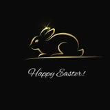 Tarjeta de felicitación de Pascua con el conejito del oro libre illustration
