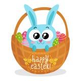 Tarjeta de felicitación de Pascua con el conejito en cesta Foto de archivo