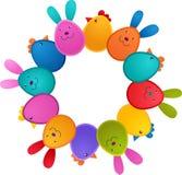 Tarjeta de felicitación de Pascua con el conejito y el pájaro stock de ilustración
