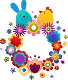 Tarjeta de felicitación de Pascua con el conejito y el pájaro Fotografía de archivo