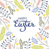 Tarjeta de felicitación de Pascua con el marco de elementos florales Imagen de archivo