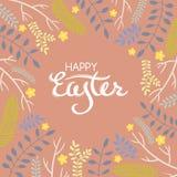 Tarjeta de felicitación de Pascua con el marco de elementos florales Fotos de archivo