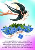 Tarjeta de felicitación de Pascua con el pájaro y la flor del trago