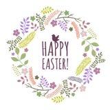 Tarjeta de felicitación de Pascua con la guirnalda de elementos florales Fotografía de archivo libre de regalías