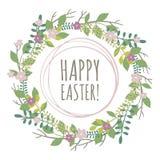 Tarjeta de felicitación de Pascua con la guirnalda de elementos florales Foto de archivo libre de regalías