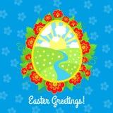 Tarjeta de felicitación de Pascua con las flores Foto de archivo