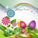 Tarjeta de felicitación de Pascua con las flores y los huevos Foto de archivo libre de regalías
