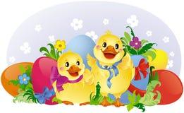 Tarjeta de felicitación de Pascua con los anadones y los huevos Fotos de archivo