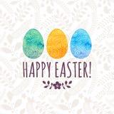 Tarjeta de felicitación de Pascua con los huevos pintados Imagenes de archivo