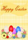 Tarjeta de felicitación de Pascua con los huevos y las flores de Pascua Foto de archivo libre de regalías