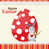 Tarjeta de felicitación de Pascua de la plantilla, conejo, vector Imagen de archivo libre de regalías