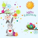 Tarjeta de felicitación de Pascua de la plantilla, conejo, vector Foto de archivo libre de regalías