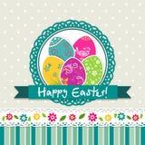 Tarjeta de felicitación de Pascua de la plantilla, vector Foto de archivo libre de regalías