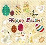 Tarjeta de felicitación de Pascua en estilo del vintage stock de ilustración