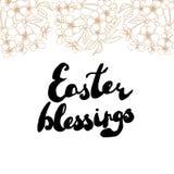 Tarjeta de felicitación de Pascua Flores de cerezo con el texto manuscrito Imagenes de archivo