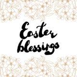 Tarjeta de felicitación de Pascua Flores de cerezo con el texto manuscrito Foto de archivo