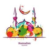 Tarjeta de felicitación de Ramadan Kareem con el ejemplo de la acuarela de la mezquita y de la luna ilustración del vector