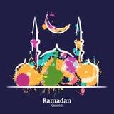Tarjeta de felicitación de Ramadan Kareem con el ejemplo de la noche de la acuarela de la mezquita y de la luna stock de ilustración