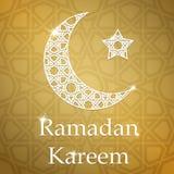 Tarjeta de felicitación de Ramadan Kareem con la media luna y la estrella